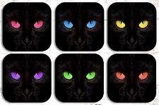 Black Cat Drink Coasters x 6 Non Fading