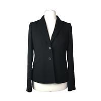 Hobbs Black Blazer Jacket Size 12 Woven Tailored Single Breasted Pockets Smart