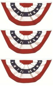 (3 Pack) 3x6 USA American Pleated Super-Poly Printed 2ply Flag 3'x6' Bunting Fan