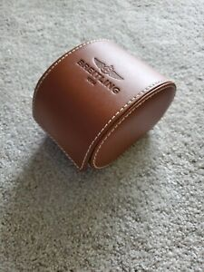 GENUINE LEATHER BREITLING WATCH STORAGE CASE SADDLE BROWN WITH PILLOW UNUSED