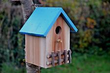Nichoir Cabine Abris pour oiseaux en bois, Couleur bois naturel toit bleu ciel