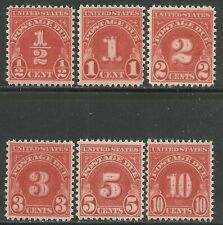 U.S. Postage Due stamps scott j79 - j84 issues of 1931 - mnh - set #7