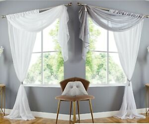 Double Display Plain Voile Panel with Integral Valance Scarf -- 2 Colour Options