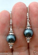 Charming Black shell Pearl Silver Leverbacks Dangle Earrings