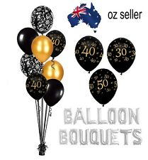 30TH 40TH 50TH  PARTY GOLD AND BLACK MILESTONE BIRTHDAY BALLOONS BOUQUET
