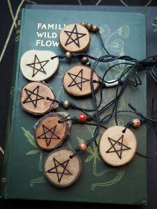 English Wood Pentagram Pendant with Cord - Pagan, Wiccan, Witchcraft, Pentacle
