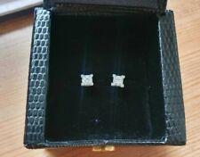 New 18ct White Gold 0.4ct Square Princess Cut Diamond Stud Earrings