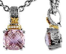 Philip Andre 18K Gold & Sterling Silver Diamond & Rose De France Quartz Necklace