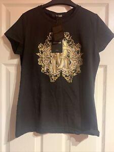 Roberto Cavalli Metallic Monogram Black Logo T-Shirt, Size L, New