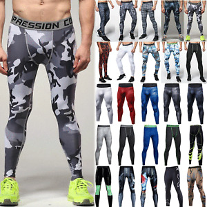 Mens Gym Sports Joggers Tight Base Layer Pants Running Skinny Leggings Trousers