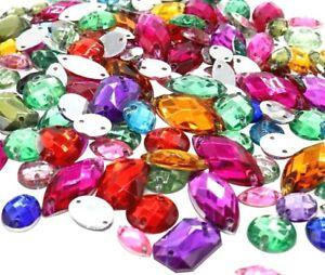 130 x Mixed Shape/ Sew On Flat-back Rhinestones Crystals Stones/ Gem Stones UK#1