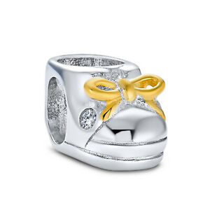 Little Shoe Booties Charm Bead Mother Gold Plated Sterling Silver