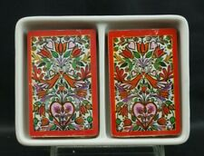 Vintage Neiman Marcus 2 Sets of Playing Cards Porcelain Holder Butterflys