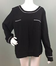 NWT Womens Anne Klein Black L/S Double Pocket Blouse Top Sz XL Extra Large
