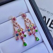 Certified Natural Tourmaline 925 Silver Sterling Earrings Women Birthday Gifts