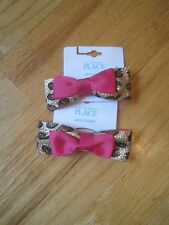 Twin girls GLITTER GOLD LEOPARD HOT PINK BOW HAIR PONY TAIL ELASTIC NWT 4 5 6 7