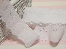 3Yds Embroidery scalloped cotton eyelet lace trim 4.5cm YH943 lacekingUSA