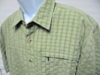THE NORTH FACE green White Plaid Short Sleeve Shirt MENS L Large. Hiking Trail
