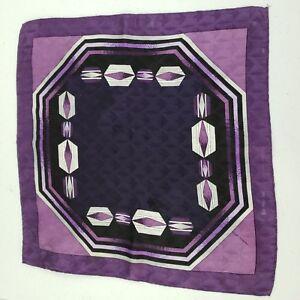 Mens Silk Scarf Vintage Handkerchief Pocket Square Hand Rolled Hem Purple Black
