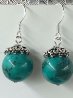 NEW Original DIY Ethnic Style Tibet silver natural turquoise Dangle Earrings