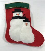Vintage Christmas Stocking Snowman Felt Holiday Decoration Hanging Display
