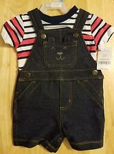 CARTER'S BABY BOYS 2 PIECE SET - SIZE 6 MONTHS -BLUE OVERALLS WITH STRIPED SHIRT