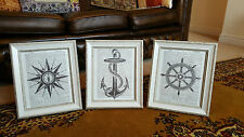 Stunning set of Vintage Shabby Chic Feature Wall Book Art Prints Nautical Sea x3