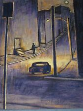 EXCEPTIONAL NOCTURNAL URBAN STREET SCENE OIL PAINTING ON CANVAS SIGNED LUNA