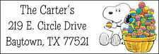 ~SNOOPY with EASTER EGGS - Return Address Label