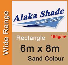 New Shade Sail - Sand Colour Rectangle 6x8m, 6m x 8m, 6 by 8m, 6 x 8m, 6mx8m