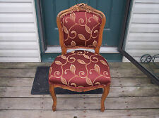 Walnut Italian Carved Sidechair Parlor Chair burgundy print damask  (SC68)
