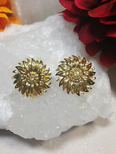 Beautiful Joan Rivers Sun Flower Collection Gold Rhinestone Clip Earrings Signed