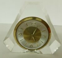 """Crystal Clear Glass Art Deco West Bend Clock 3 1/2""""  Desk Table Clock Works"""
