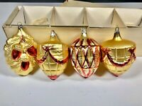 Vintage Heavily Embossed Large Glass Christmas Ornaments (4) RED GOLD with box