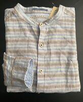 Caribbean Nwt Linen Blend Blue Tan Stripe Long Sleeve Mandarin Collar Shirt