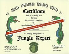 Jungle Warfare Expert School Course Replacement Certificate Army Marines Navy