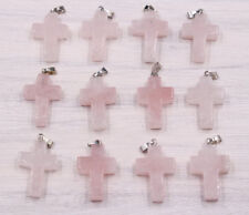 Natural Cross Amethyst gemostne stone Silver P Beads Pendant 10pcs/lot Wholesale