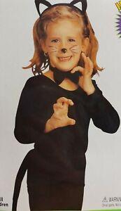 Girls Black Cat Accessory Halloween Fancy Dress Tail Bow Kids Costume Pussycat