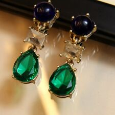 Boucles d'Oreilles Clip Pendante Bleu Vert Goutte Original Mariage Cadeau YW8