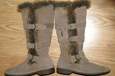 Beige real leather mukluk flat sole rugged faux fur knee tall Utility BOOTS 8 M