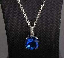 Sterling Silver Blue Pink Cubic Zirconia Round Pendant Necklace Chain Gift BoxA9