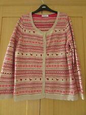 Per Una Wool Blend FairIsle/Christmas Cardigan - Pink/Cream Stripe - Size 18