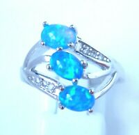 """GORGEOUS BLUE FIRE OPAL  RING UK Size """"N"""" US 7"""