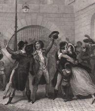 1837 Gravure originale Les modérés remis en liberté Paris révolution française