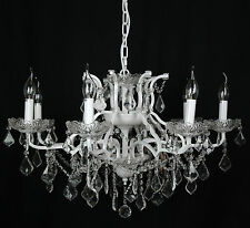 French Style Large White 8 Arm Branch French Shallow Cut Glass Chandelier