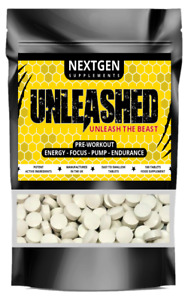 UNLEASHED PRE-WORKOUT PILLS BOOST PERFORMANCE ENERGY FOCUS ENDURANCE TABLETS