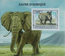 African fauna Rhinoceros Elephant Burundi s/s Sc.1406 MNH #BUR13305b IMPERF