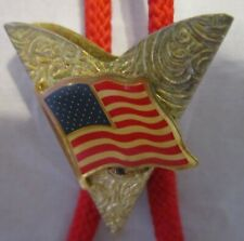 Vintage Gold Tone Collar Tip With Waving America Flag Red Cloth Bolo Tie