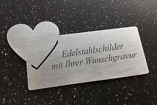 TÜRSCHILD mit Herz-Emblem- aus Edelstahl (V2A) 120x60mm - mit Ihrer WUNSCHGRAVUR