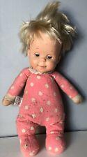 "Vintage 1964 Mattel Talking Drowsy Doll 15"" Pink Polka Dots 1960s Baby MUTE"